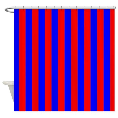Blue And Red Stripes Shower Curtain By CoolPatterns