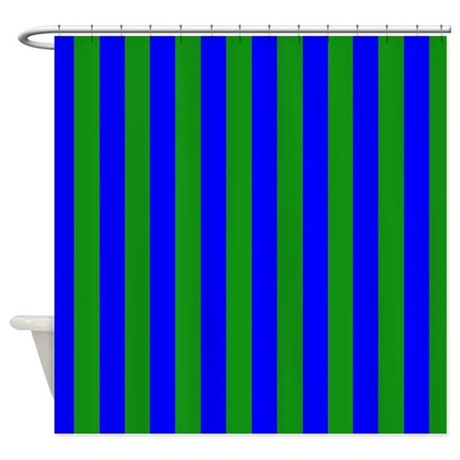 Blue And Green Stripes Shower Curtain By Coolpatterns