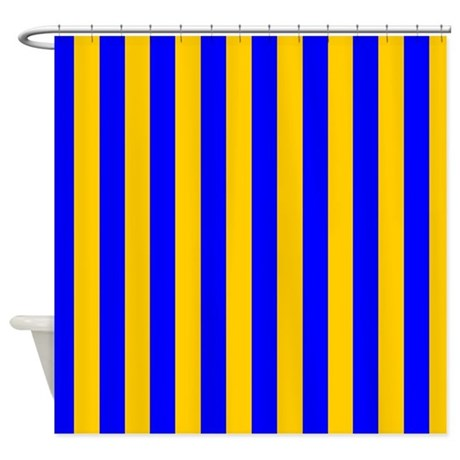 Blue And Gold Stripes Shower Curtain By Coolpatterns