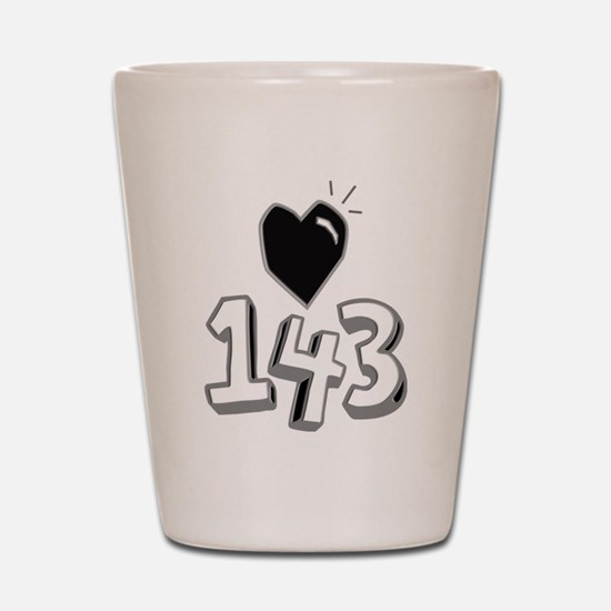 143 means I Love You Shot Glass