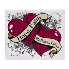 Multiple Myeloma Hope Hearts Throw Blanket