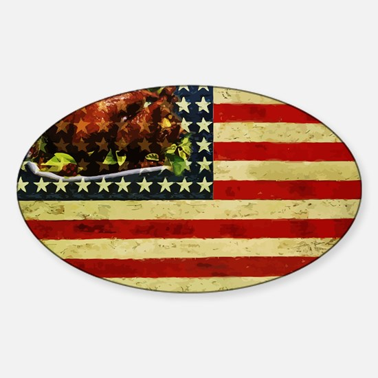 Thanksgiving Day Flag Sticker (Oval)