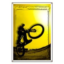 3D image of silhouette of cyclist Banner