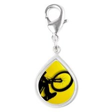 3D image of silhouette of c Silver Teardrop Charm