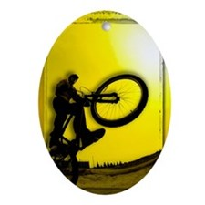 3D image of silhouette of cyclist Oval Ornament