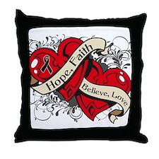 Melanoma Hope Faith Dual Hearts Throw Pillow