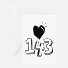 143 means I Love You Greeting Cards