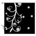 White Floral Art Shower Curtain