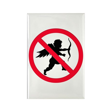 No Cupid Rectangle Magnet