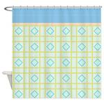 Blue Diamond Pattern Shower Curtain