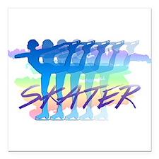"Rainbow Skaters Square Car Magnet 3"" x 3"""