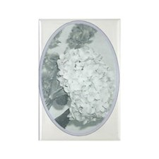 Retro Floral Grey Rectangle Magnet