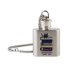 Home is where cat and books are Flask Necklace