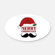 Merry Christmas Oval Car Magnet