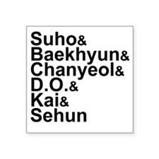 "EXO-K Member List Square Sticker 3"" x 3"""