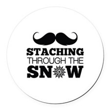 Staching Through The Snow Round Car Magnet
