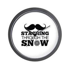 Staching Through The Snow Wall Clock