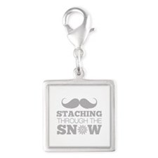 Staching Through The Snow Silver Square Charm