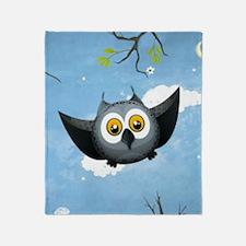 A Cute Gray Owl Throw Blanket