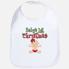 1st Christmas Baby Girl Bib