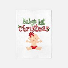1st Christmas Baby Girl 5'x7'Area Rug