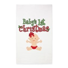 1st Christmas Baby Girl 3'x5' Area Rug