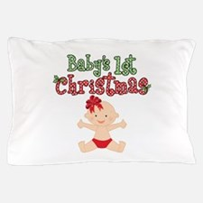 1st Christmas Baby Girl Pillow Case