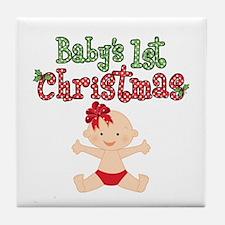 1st Christmas Baby Girl Tile Coaster