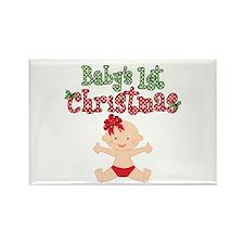 1st Christmas Baby Girl Rectangle Magnet