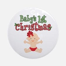 1st Christmas Baby Girl Ornament (Round)