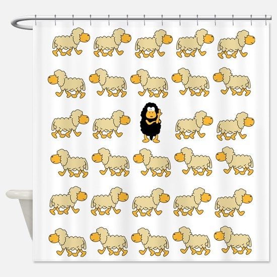 A Sheep with Attitude Shower Curtain