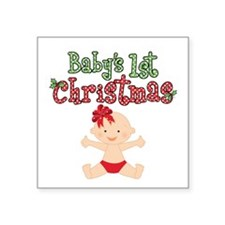 """1st Christmas Baby Girl Square Sticker 3"""" x 3"""""""