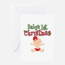 1st Christmas Baby Girl Greeting Card
