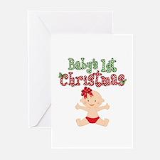 1st Christmas Baby Girl Greeting Cards (Pk of 10)