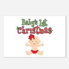 1st Christmas Baby Girl Postcards (Package of 8)