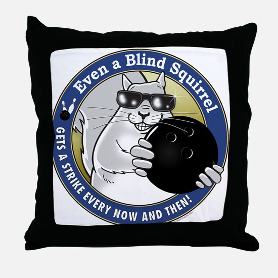Bowling Blind Squirrel Throw Pillow