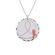 Baseball for Breast Cancer Necklace Circle Charm