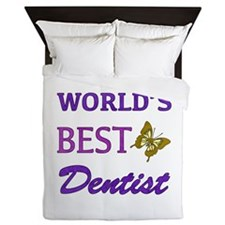 Worlds Best Dentist (Butterfly) Queen Duvet