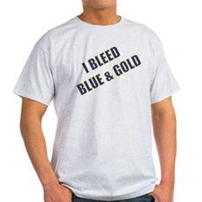 I Bleed Blue and Gold Ash Grey T-Shirt