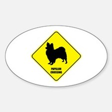 Papillon Crossing Oval Decal