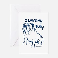 """I Love My Bully"" Blue Greeting Cards (Package of"