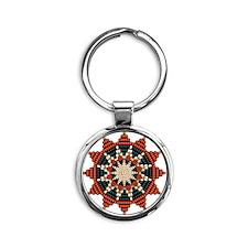 Native American Sunburst Rosette Round Keychain