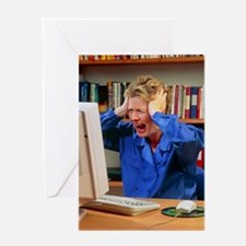 Stressed woman shouting at an office Greeting Card