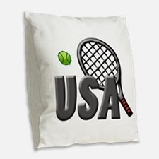 USA Tennis (2) Burlap Throw Pillow