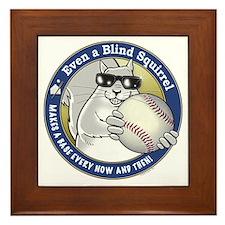 Baseball Blind Squirrel Framed Tile