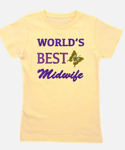 Worlds Best Midwife (Butterfly) Girl's Tee