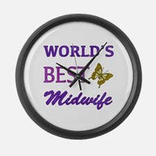 Worlds Best Midwife (Butterfly) Large Wall Clock