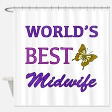 Worlds Best Midwife (Butterfly) Shower Curtain