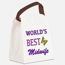 Worlds Best Midwife (Butterfly) Canvas Lunch Bag