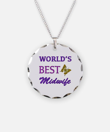 Worlds Best Midwife (Butterfly) Necklace Circle Ch
